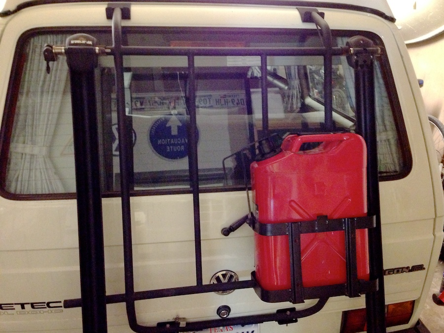 The van with the fuel carrier mounted in place. There's still plenty of room for bicycles