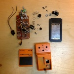 The BOSS pedal disassembled.